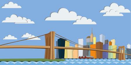 manhattan bridge: New York skyline