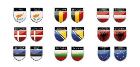 herzegovina: set of european flags in form of shiny emblems Illustration