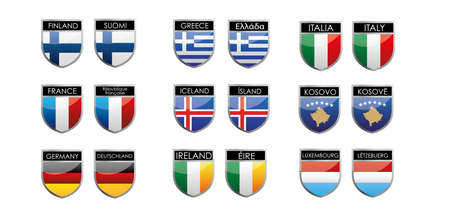 set of european flags in form of shiny emblems Vector