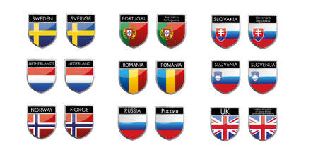 set of european flags in form of shiny emblems Stock Vector - 18153642