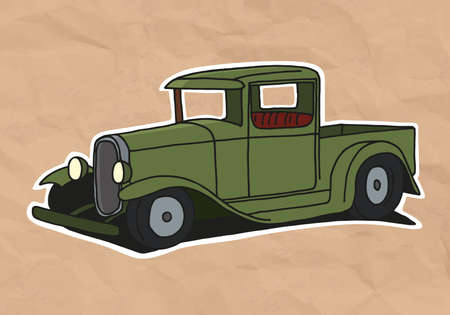 vintage pickup illustration on old paper Vector