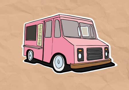 ice cream truck illustration on old paper Vector