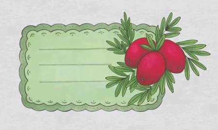 cranberry fruit: vintage label with a cranberry fruit