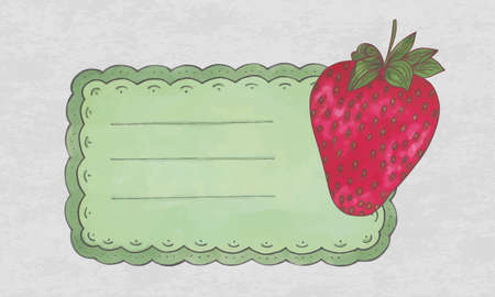vintage label with a strawberry fruit Vector