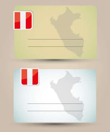 mapa del peru: Tarjeta de visita con la bandera y el mapa del Perú Vectores