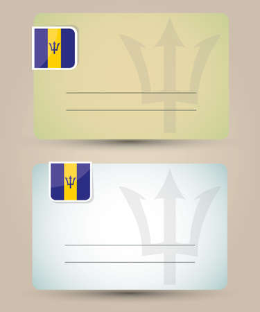 barbados: business card with flag and sign of Barbados