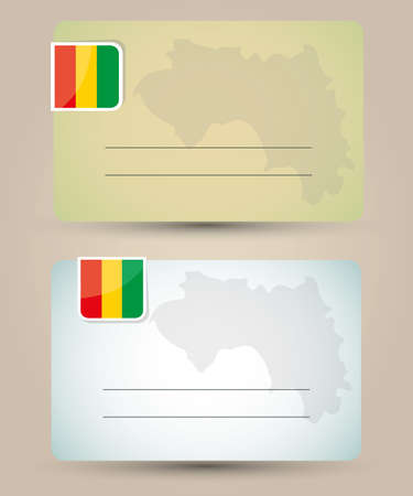 business card with flag and map of Guinea Vector