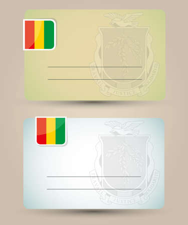 guinea: business card with flag and coat of arms of Guinea