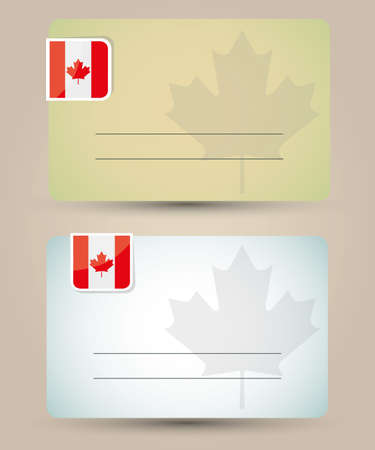 canadian flag: business card with flag and sign of Canada Illustration