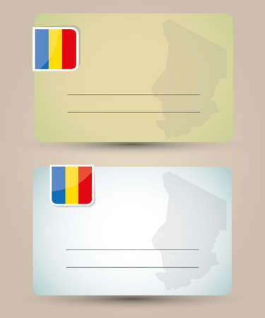 chad: business card with flag and map of Chad