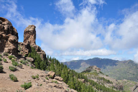 canaria: View of Roque Nublo, Gran Canaria in the Canary Islands