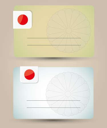 business card with flag and imperial seal of Japan  Vector
