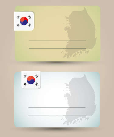 business card with flag and map of South Korea Vector