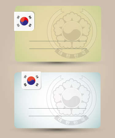 business card with flag and coat of arms of South Korea Vector