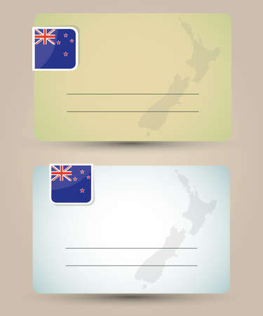 business card with flag and map of New Zealand Vector