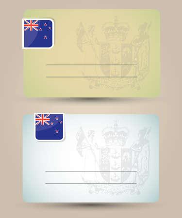 bandera de nueva zelanda: Tarjeta de visita con la bandera y el escudo de armas de Nueva Zelanda
