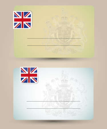 business card with flag and coat of arms of Great Britain Stock Vector - 18882321
