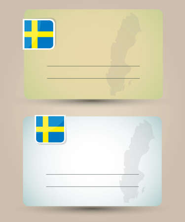 sweden flag: business card with flag and map of Sweden