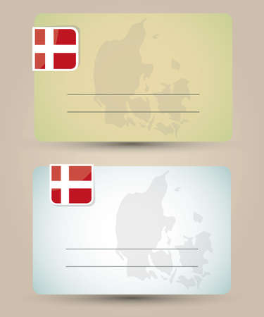 danish flag: business card with flag and map of Denmark