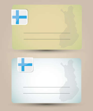 business card with flag and map of Finland Illustration