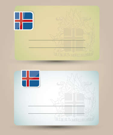 iceland: business card with flag and coat of arms of Iceland