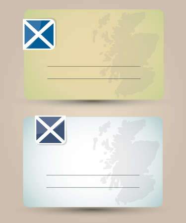 business card with flag and map of Scotland Vector