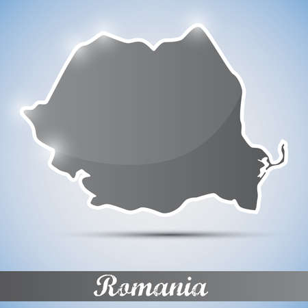 shiny icon in form of Romania Vector