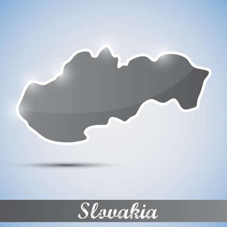 slovakian: shiny icon in form of Slovakia