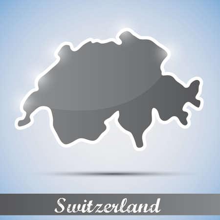 alpes suizos: Icono brillante en forma de Suiza