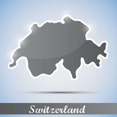 swiss alps: shiny icon in form of Switzerland