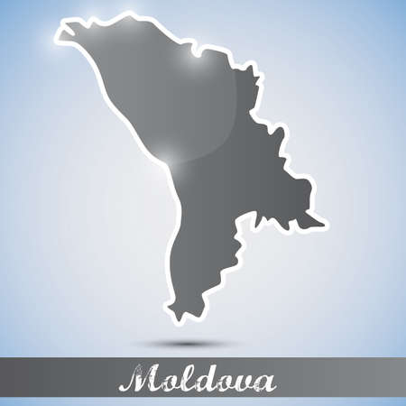moldovan: shiny icon in form of Moldova Illustration