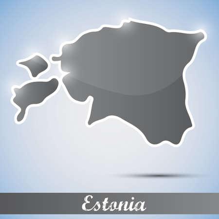 estonia: shiny icon in form of Estonia Illustration