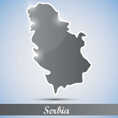 serbia: shiny icon in form of Serbia