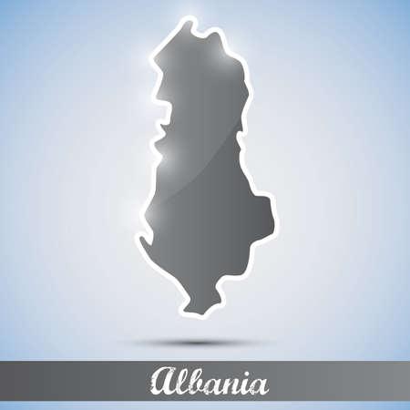 albania: shiny icon in form of Albania