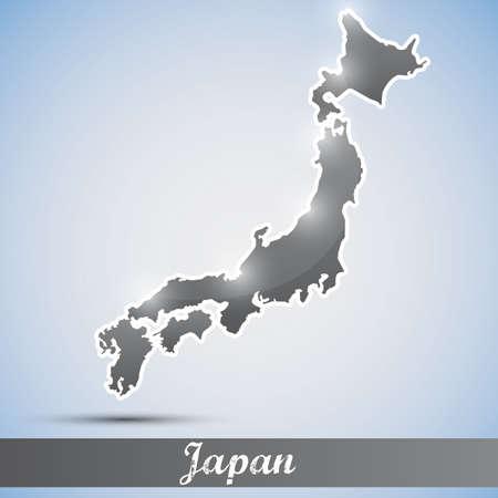 fukushima: shiny icon in form of Japan Illustration