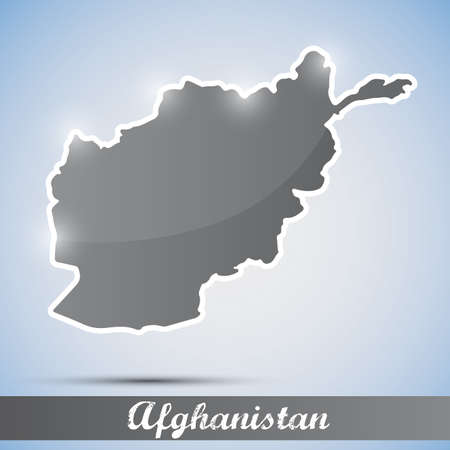 afghan: shiny icon in form of Afghanistan