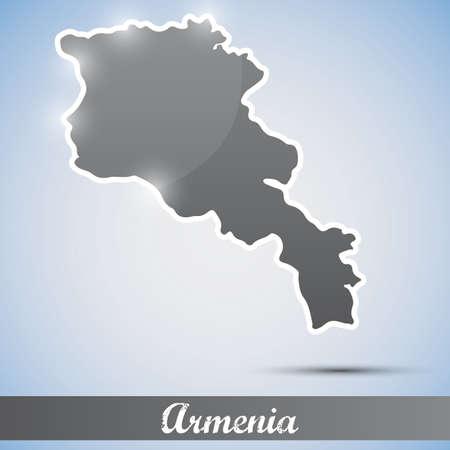 yerevan: shiny icon in form of Armenia