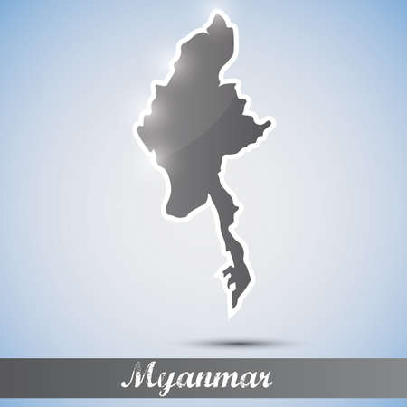 myanmar: shiny icon in form of Myanmar
