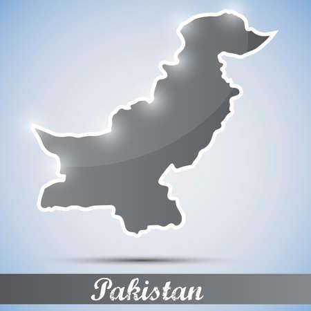 islamabad: shiny icon in form of Pakistan Illustration