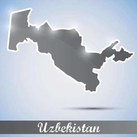 oezbekistan: glanzende pictogram in de vorm van Oezbekistan Stock Illustratie