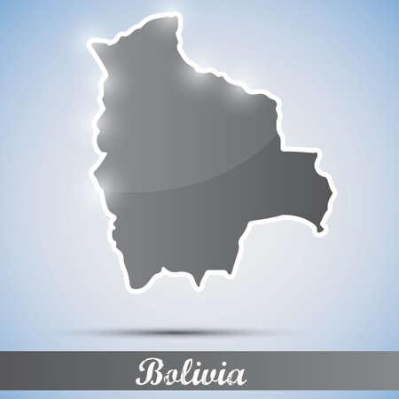 mapa de bolivia: Icono brillante en forma de Bolivia
