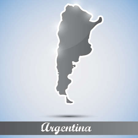 buenos aires: shiny icon in form of Argentina