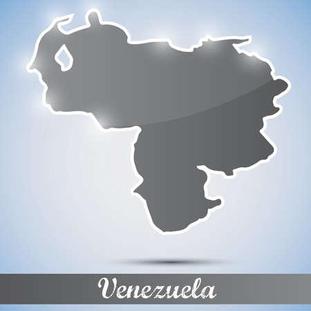mapa de venezuela: Icono brillante en forma de Venezuela