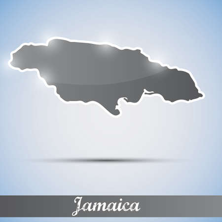 kingston: shiny icon in form of Jamaica