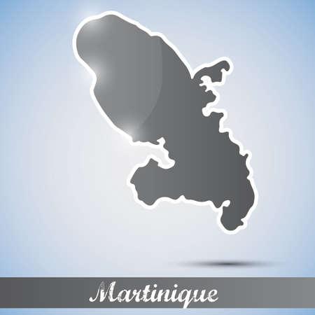 martinique: Icono brillante en forma de Martinica Vectores