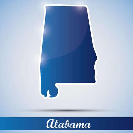 alabama: shiny icon in form of Alabama state, USA