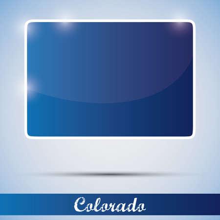 Денвер: Значок блестящей в виде штата Колорадо, США