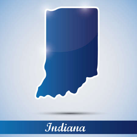 shiny icon in form of Indiana state, USA Vector