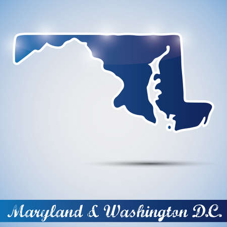 Icono brillante en forma de estado de Maryland y Washington DC