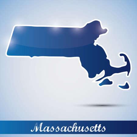 boston: shiny icon in form of Massachusetts state, USA Illustration